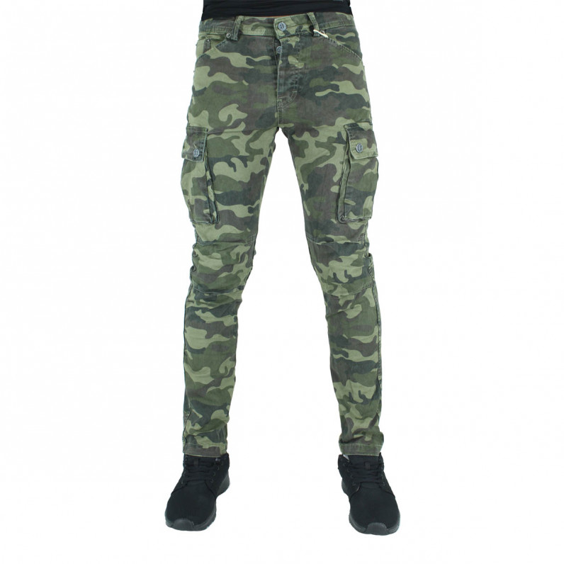 Dark Army Green Cotton Cargo Combat Slim Fit Military Pants