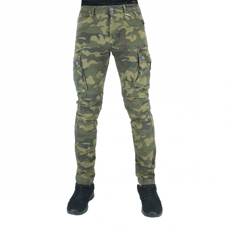 Brown Army Green Cotton Cargo Combat Slim Fit Military Pants