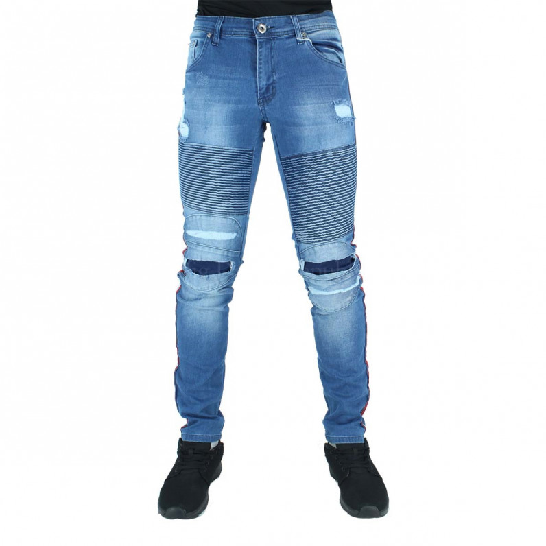 Blue Side Stripes Slim Fit Biker Style Jeans