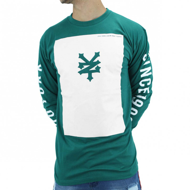 Green Square Cotton Long Sleeve Tee Shirts