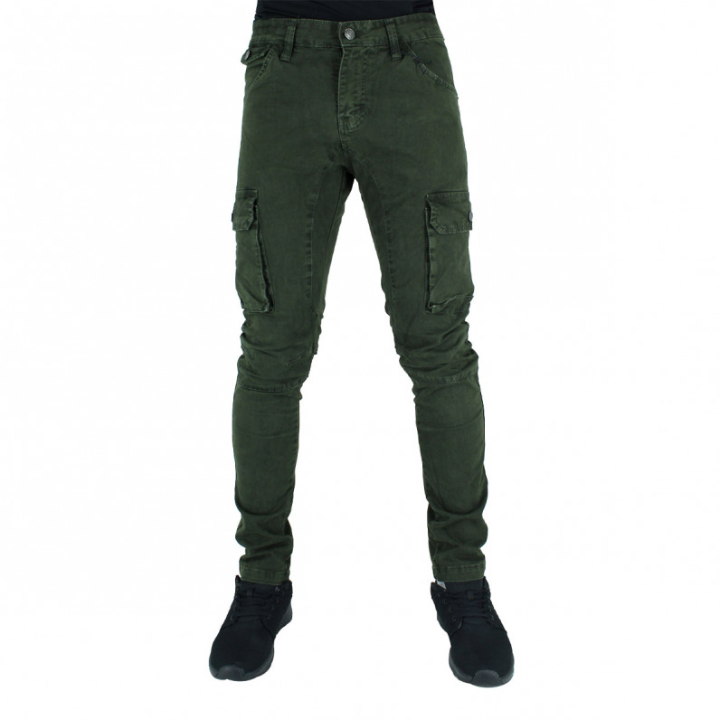 Olive Army Green Cotton Cargo Combat Slim Fit Military Pants