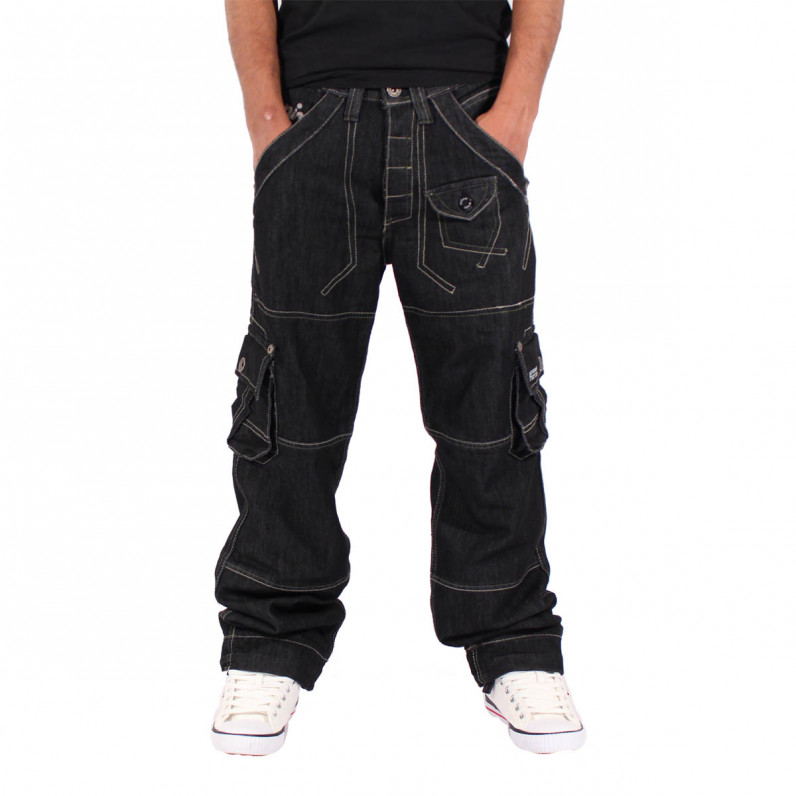 Men's 002 Black Cargo Combat Denim Jeans