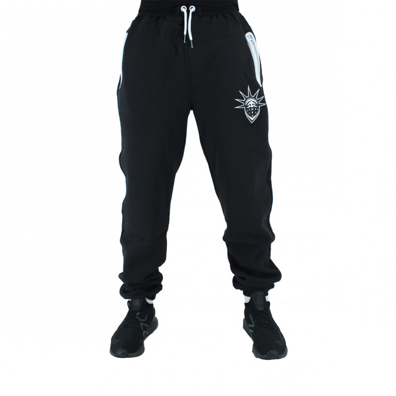 Men's Black White Cotton Loose Fit Jog Pants