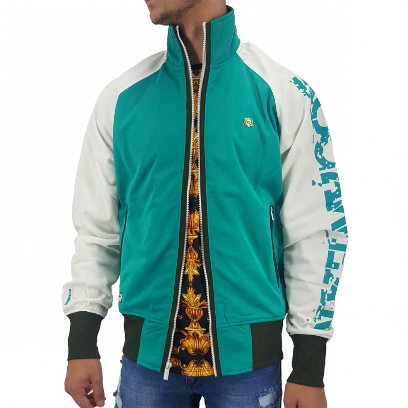 Men's Lightweight Tropical Green Zip Up Track Jacket