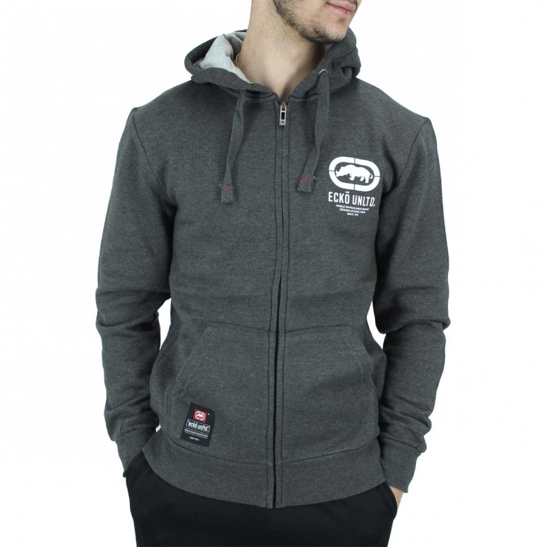 Men's Charcoal Grey Cornice Designer Zip Up Hoodie