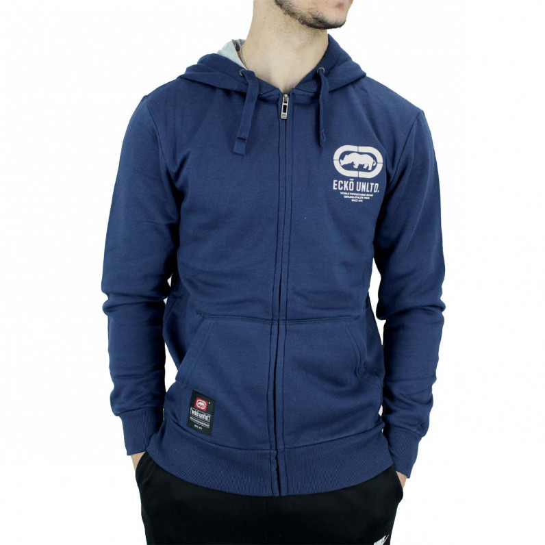 Men's Navy Cornice Designer Zip Up Hoodie