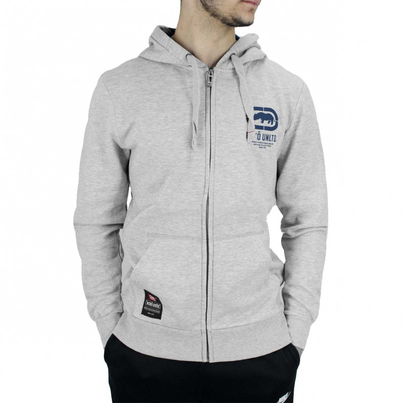 Grey Blue Cornice Designer Zip Up Hoodie