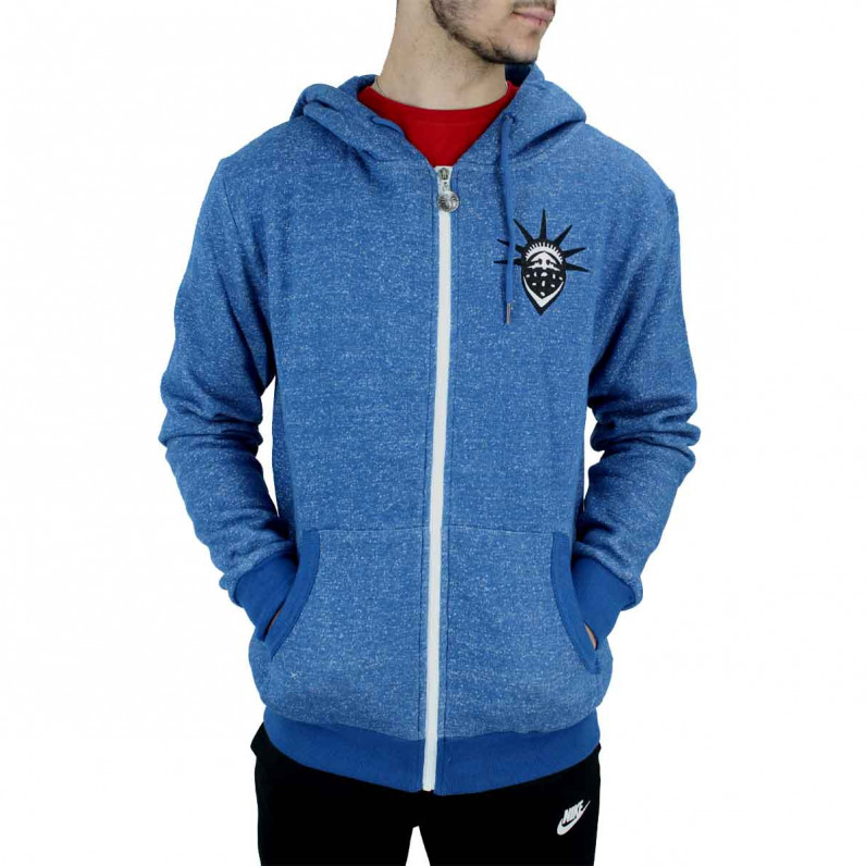 Blue Snowflake Zip Up Cotton Hoodie