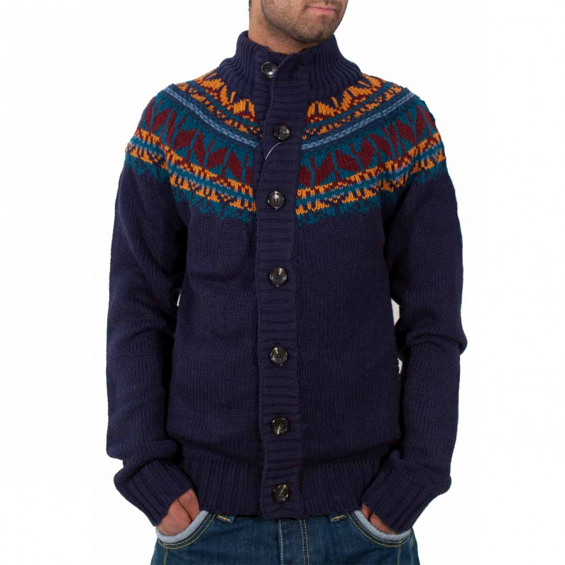 Men's Blue Chunky Knit Cardigan IB1115