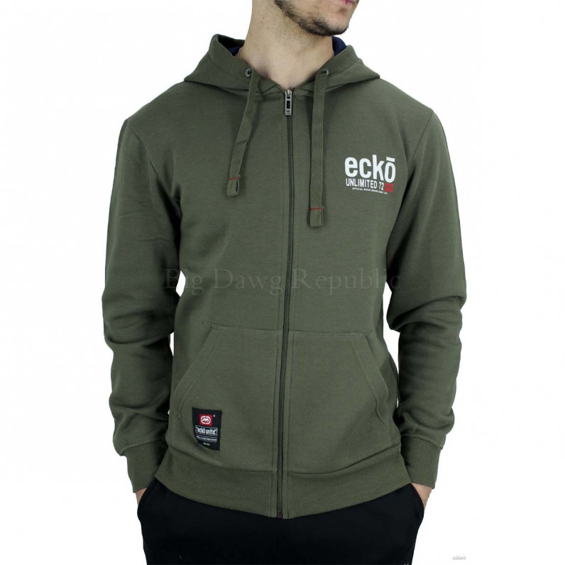 Men's Olive Vantage Designer Zip Up Hoodie