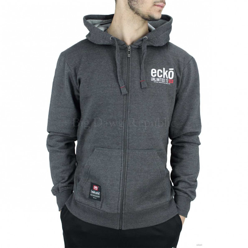 Men's Charcoal Grey Vantage Designer Zip Up Hoodie