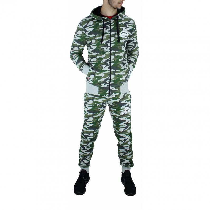 Men's Grey Camouflage Cotton Designer Tracksuit