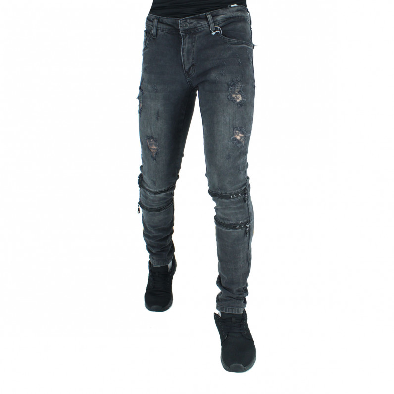 Men's Black Ripped Frayed Jeans