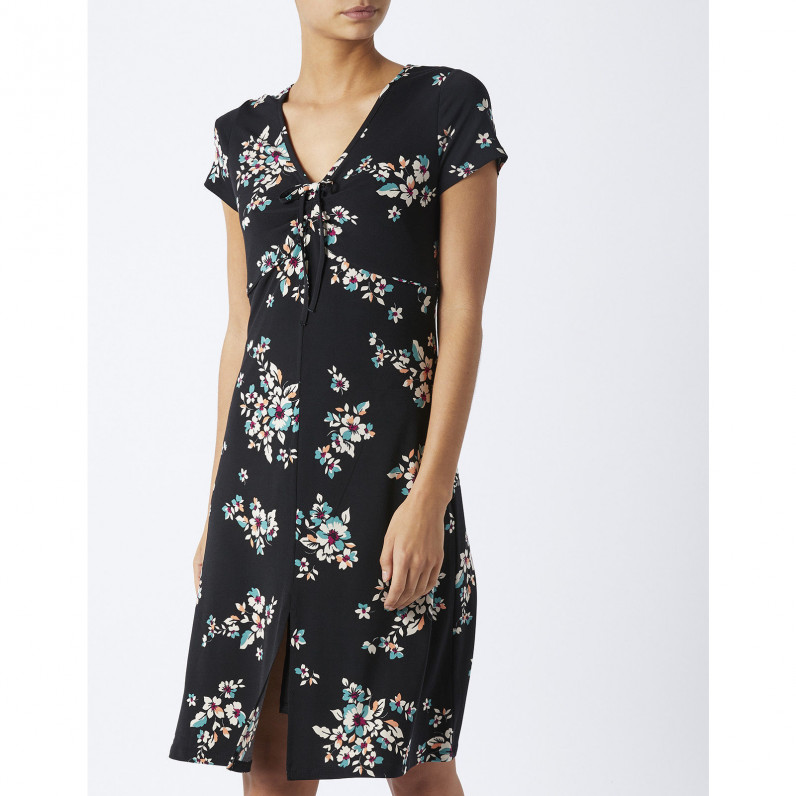 Classic Orchid Black Floral Print Tea Dress