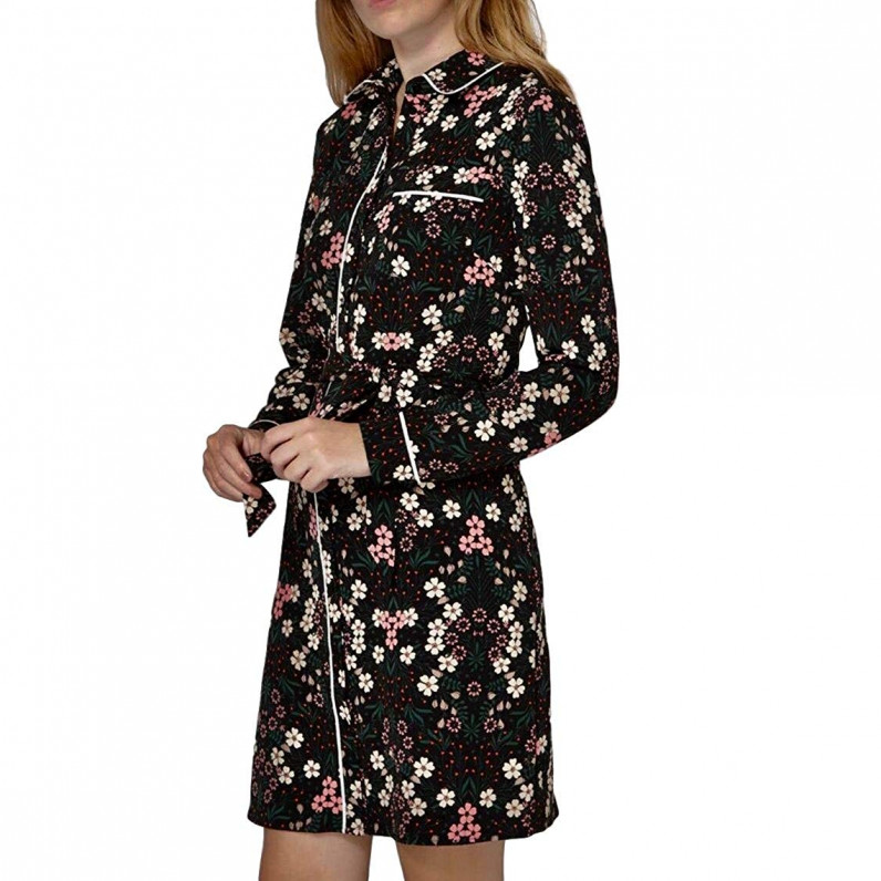 Ladies Classic Floral Print Belted Shirt Dress