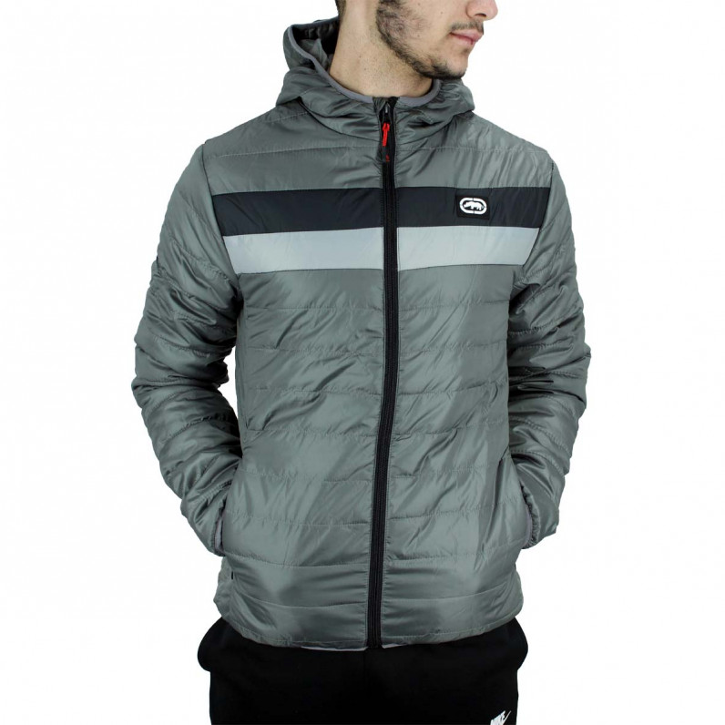 Men's Grey Woodgrange Puffer Padded Quilted Hooded Jacket