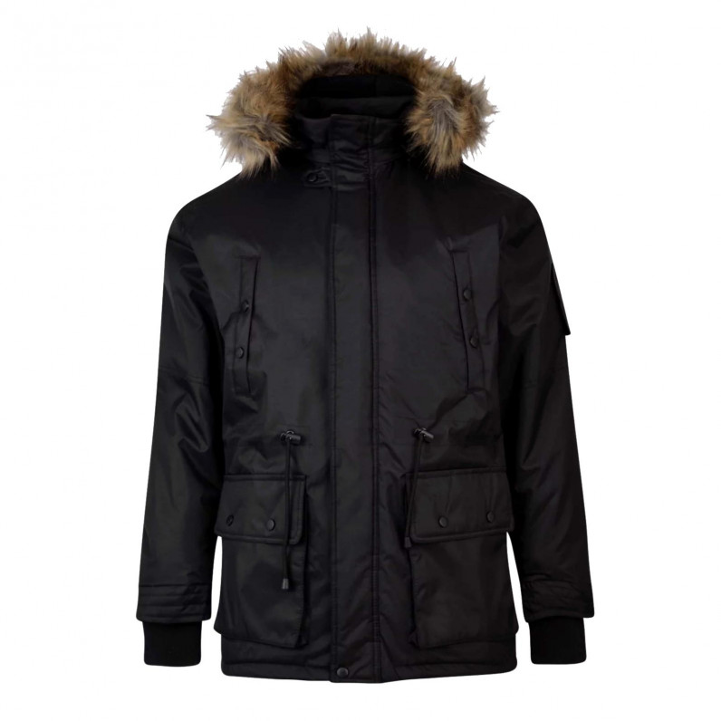 Men's Black Milo Fishtail Parka Fur Trim Hooded Jacket