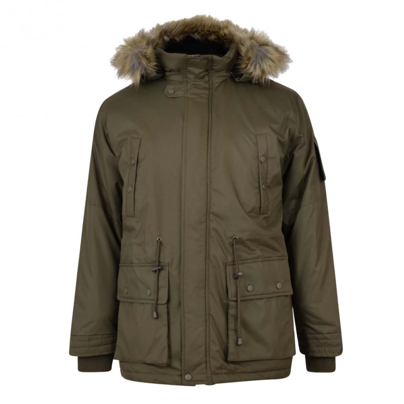 Men's Olive Milo Fishtail Parka Fur Trim Hooded Jacket
