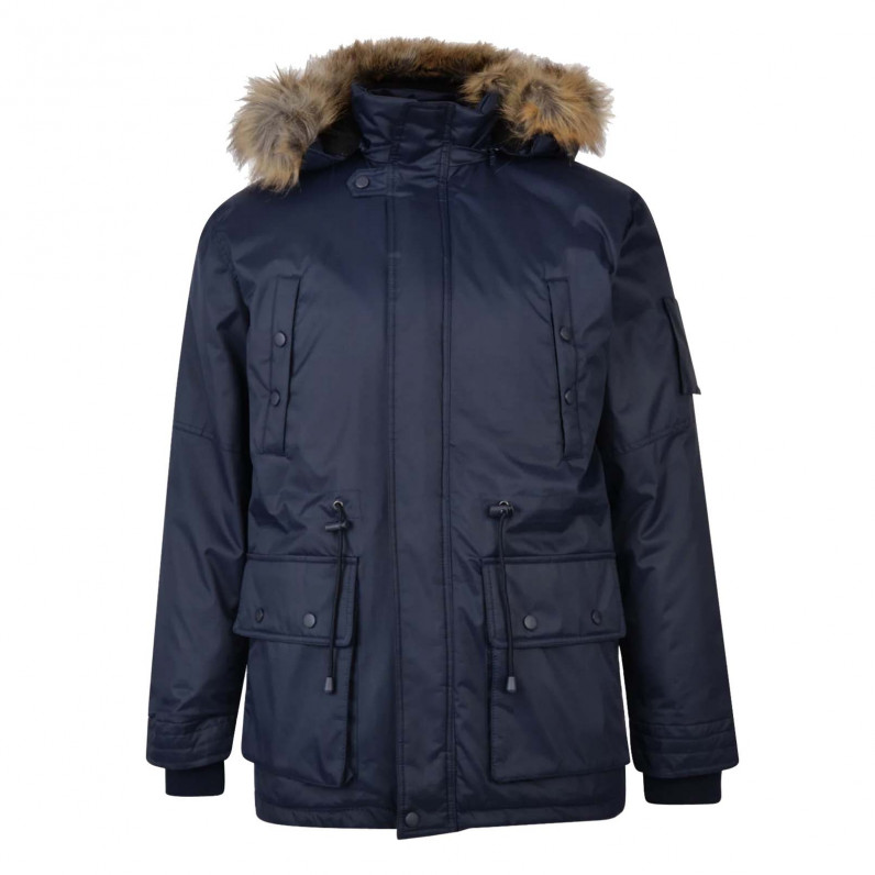 Men's Navy Milo Fishtail Parka Fur Trim Hooded Jacket