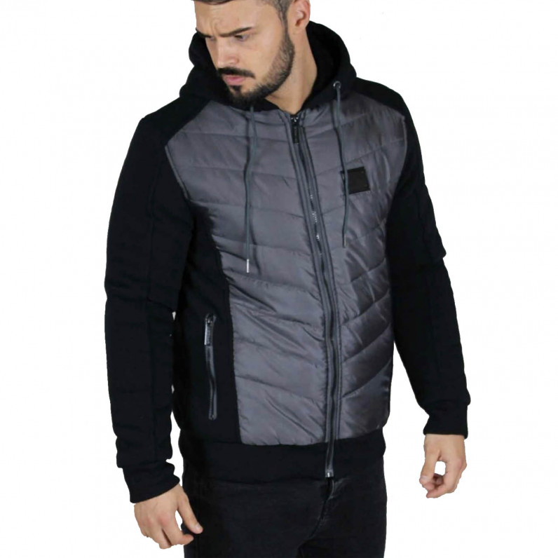 Men's Neo2 Black Fleece Fur Lined Hoodie Winter Heavy Jacket