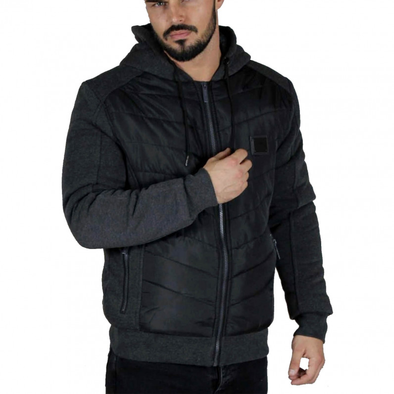 Men's Neo2 Charcoal Grey Fleece Fur Lined Hoodie Winter Heavy Jacket