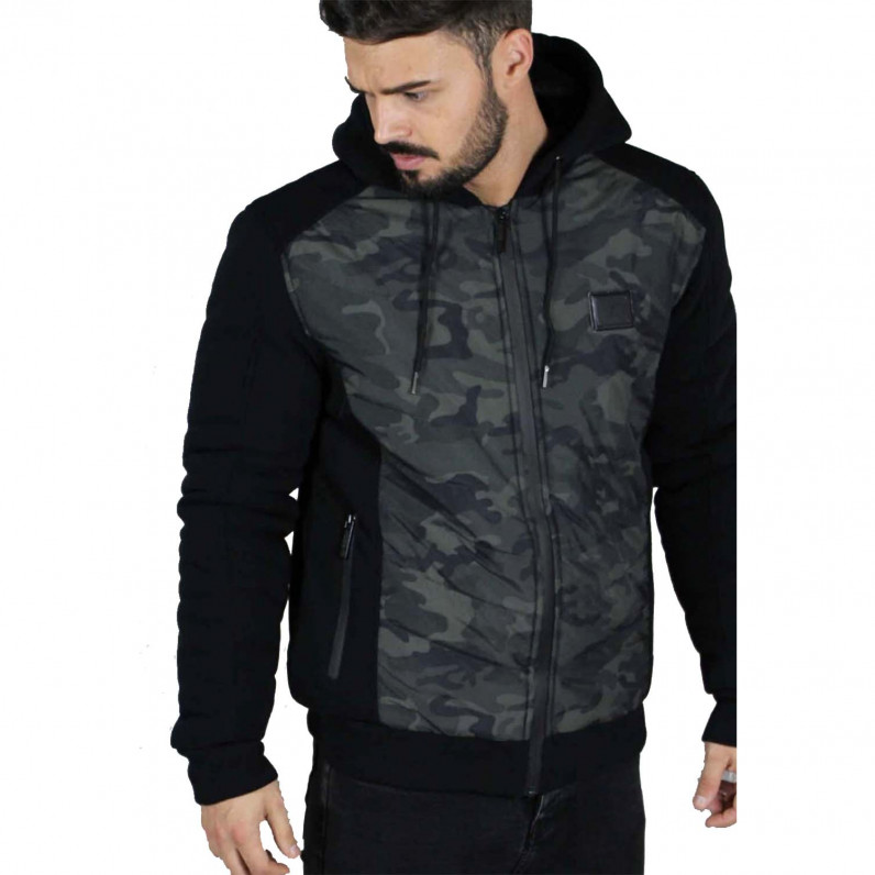 Men's Neo Black Camouflage Fleece Fur Lined Hoodie Winter Heavy Jacket
