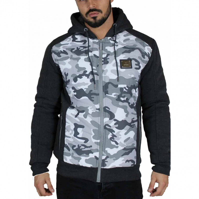 Men's Neo Charcoal Grey Camouflage Fleece Fur Lined Hoodie Winter Heavy Jacket