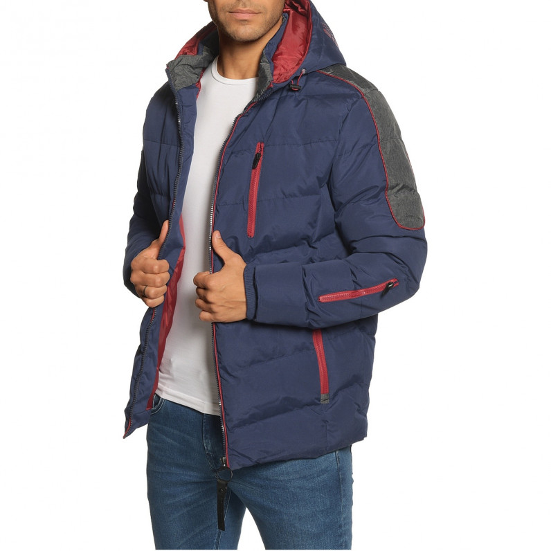 Men's Dark Royal Scepter Parka Puffer Padded Hooded Winter Jacket
