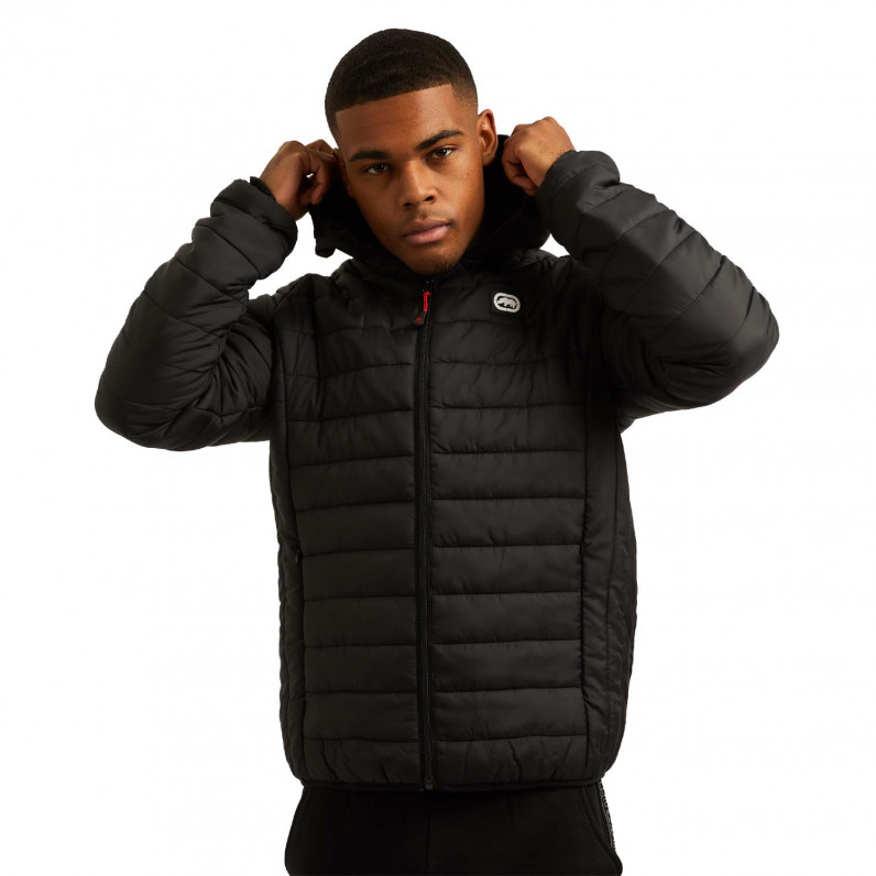 Men's Black Marshgate Sports Puffer Padded Quilted Hooded Jacket
