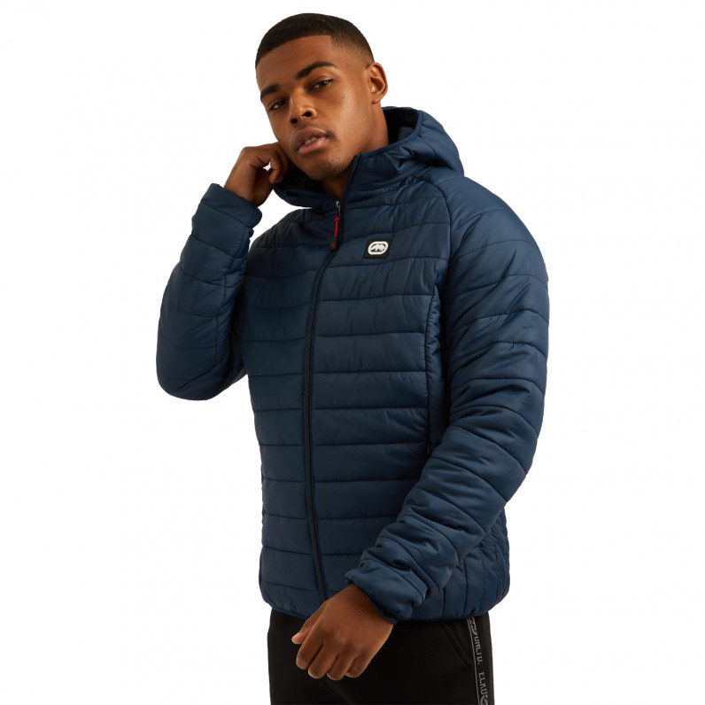 Men's Navy Marshgate Sports Puffer Padded Quilted Hooded Jacket
