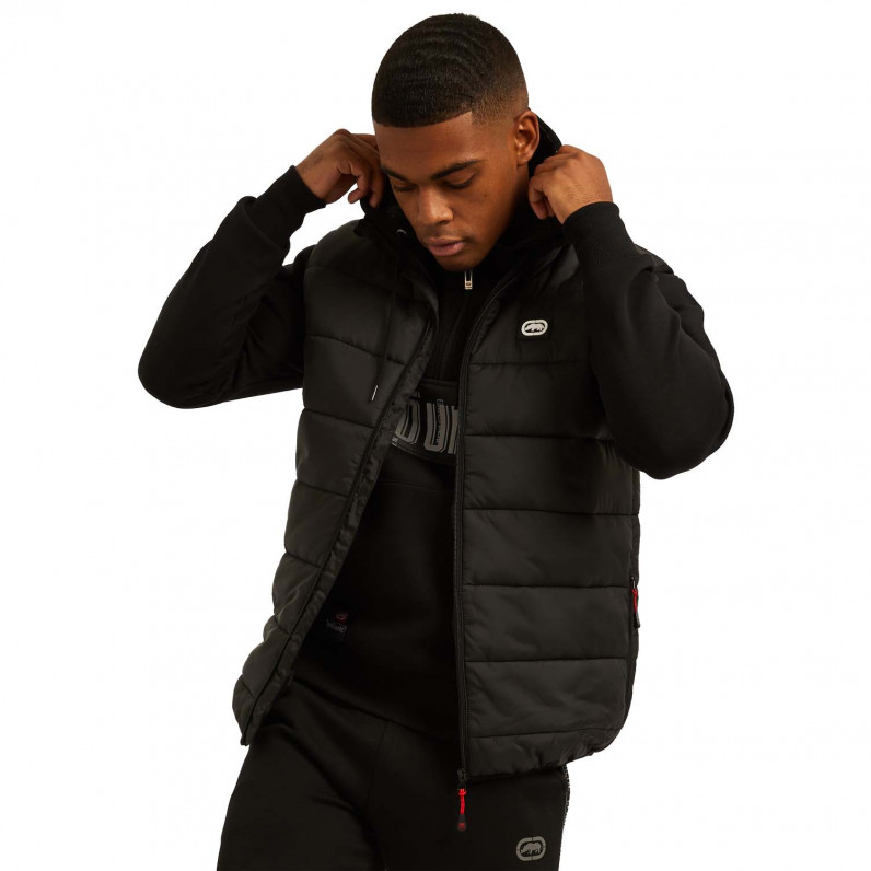 Men's Black Feller Sports Puffer Padded Gilet Jacket
