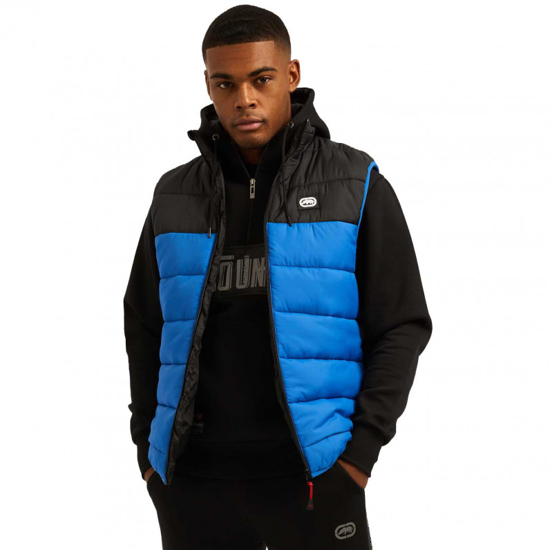 Men's Black Blue Lumber Sports Puffer Padded Gilet Jacket