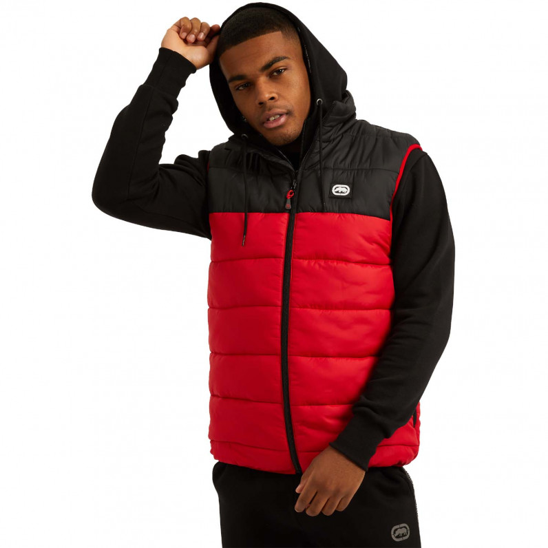 Men's Black Red Lumber Sports Puffer Padded Gilet Jacket
