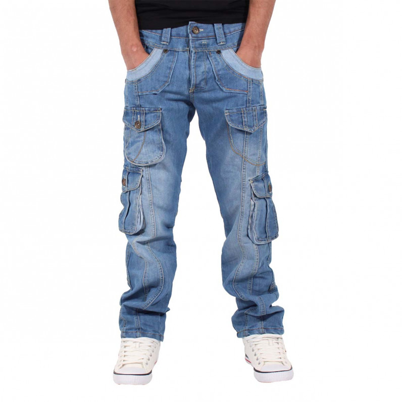 Men's Stonewash Blue Teignmouth Cargo Denim Jeans