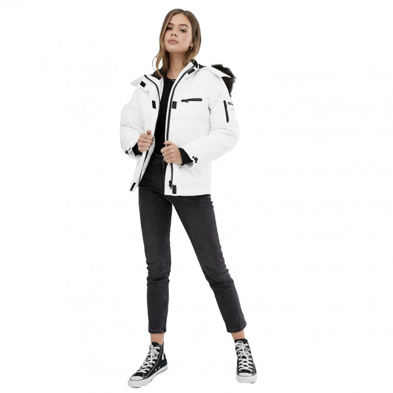 Womens Faux Fur Hood White Puffer Winter Jacket