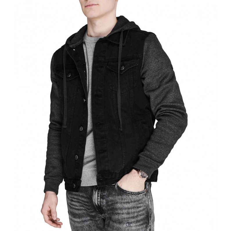 Men's Sweater Black Hooded Denim Jacket