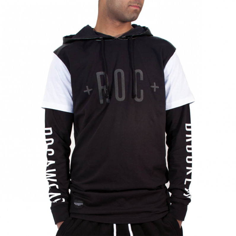 Men's Brooklyn Double Sleeve Long T-Shirt Hoodie with Side Zips R8