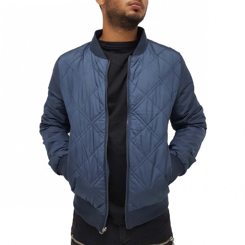 Men's Navy Cotton Quilted Reversible Bomber Baseball Jacket